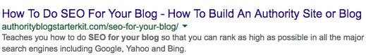 example of a page title and meta description on google