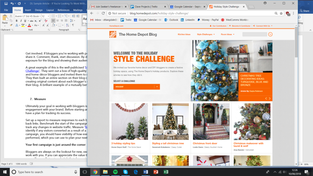 Home Depot blog example.