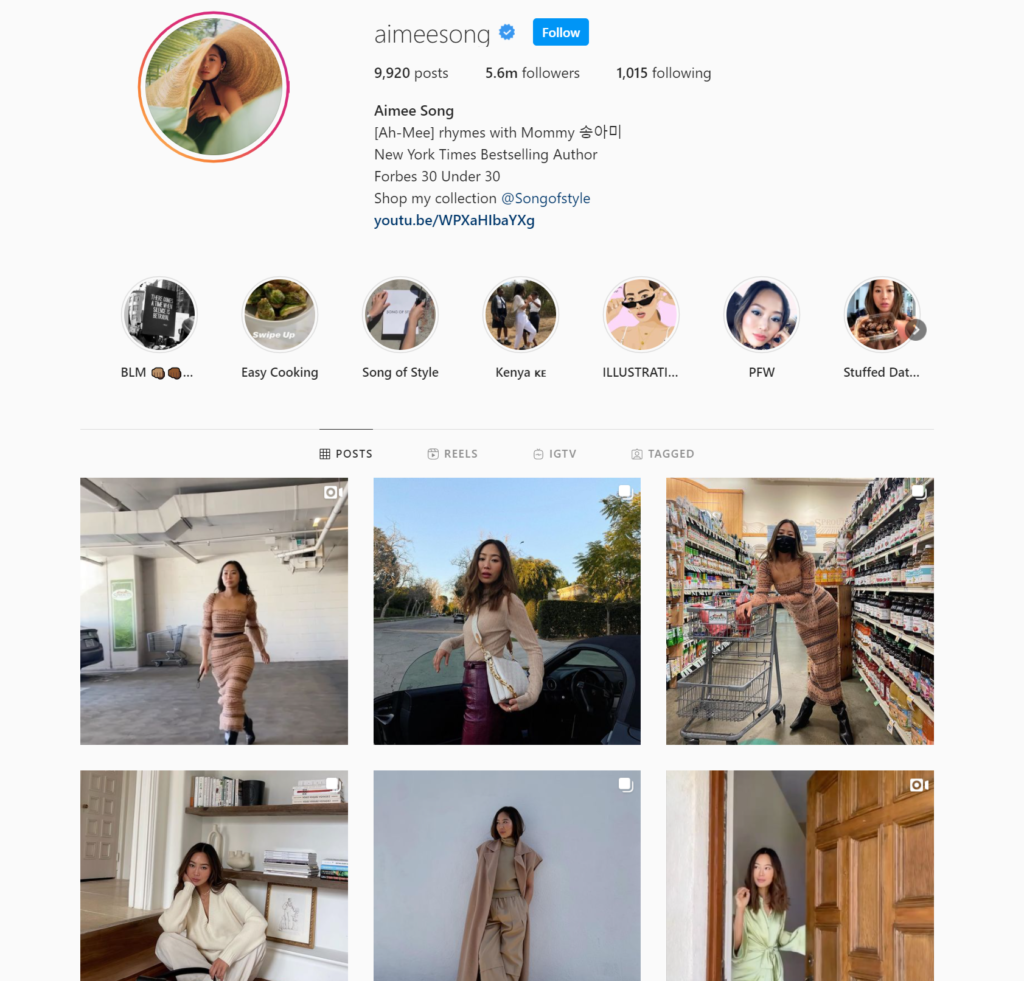 Screenshot of fashion and design influencer, Aimee Song's Instagram.