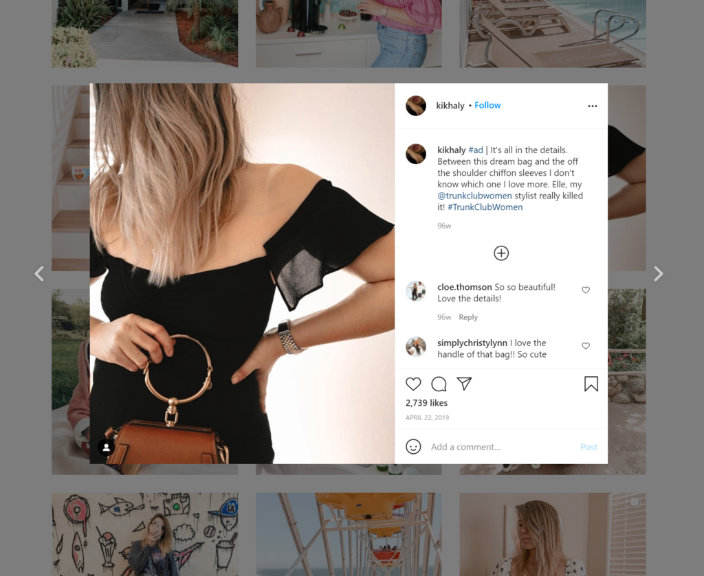 Screenshot of Kim Watson's Instagram post advertising clothing for a brand.