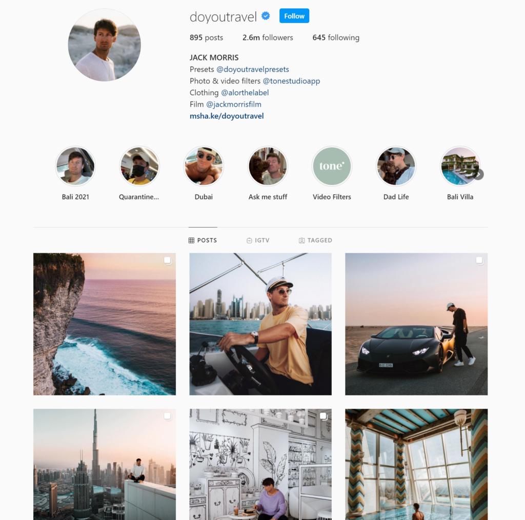 Screenshot of travel influencer Jack Morris's Instagram account.