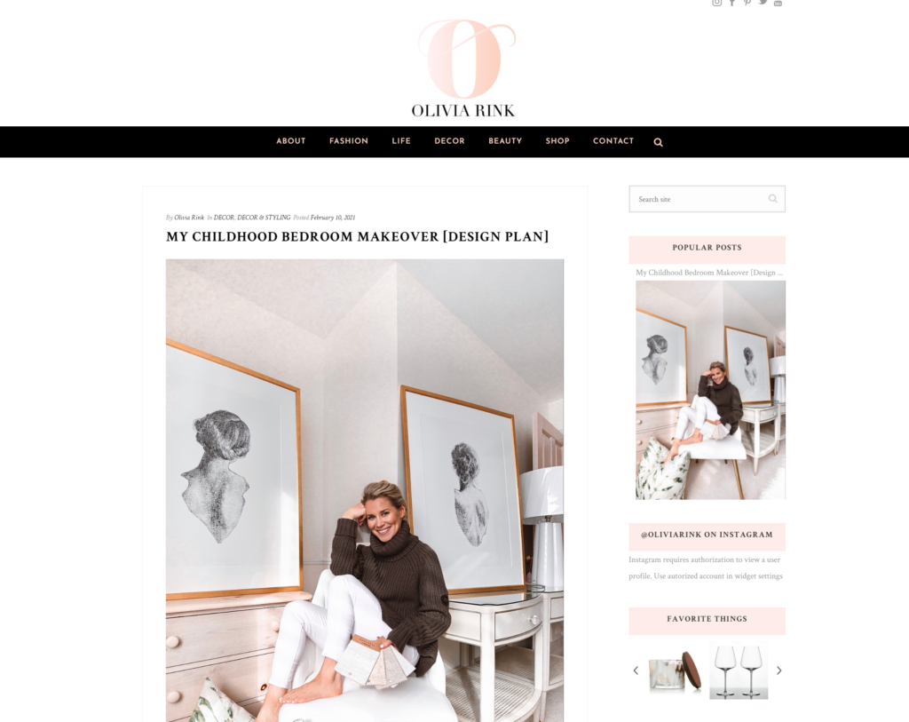 Screenshot of fashion and lifestyle influencer Olivia Rink's website.