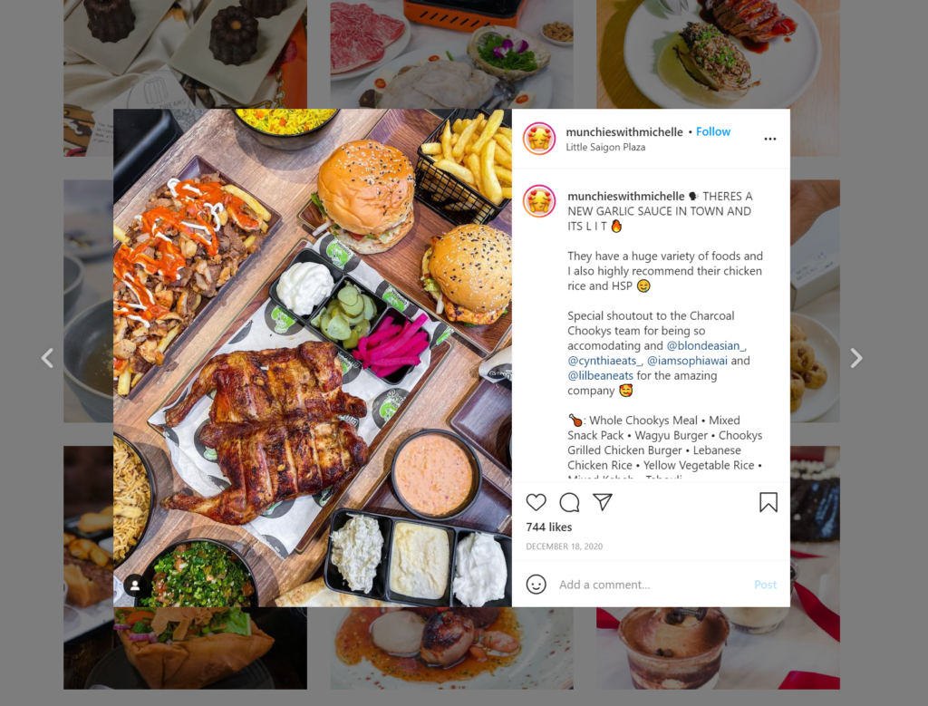 Screenshot of an Instagram post of chicken and burgers.