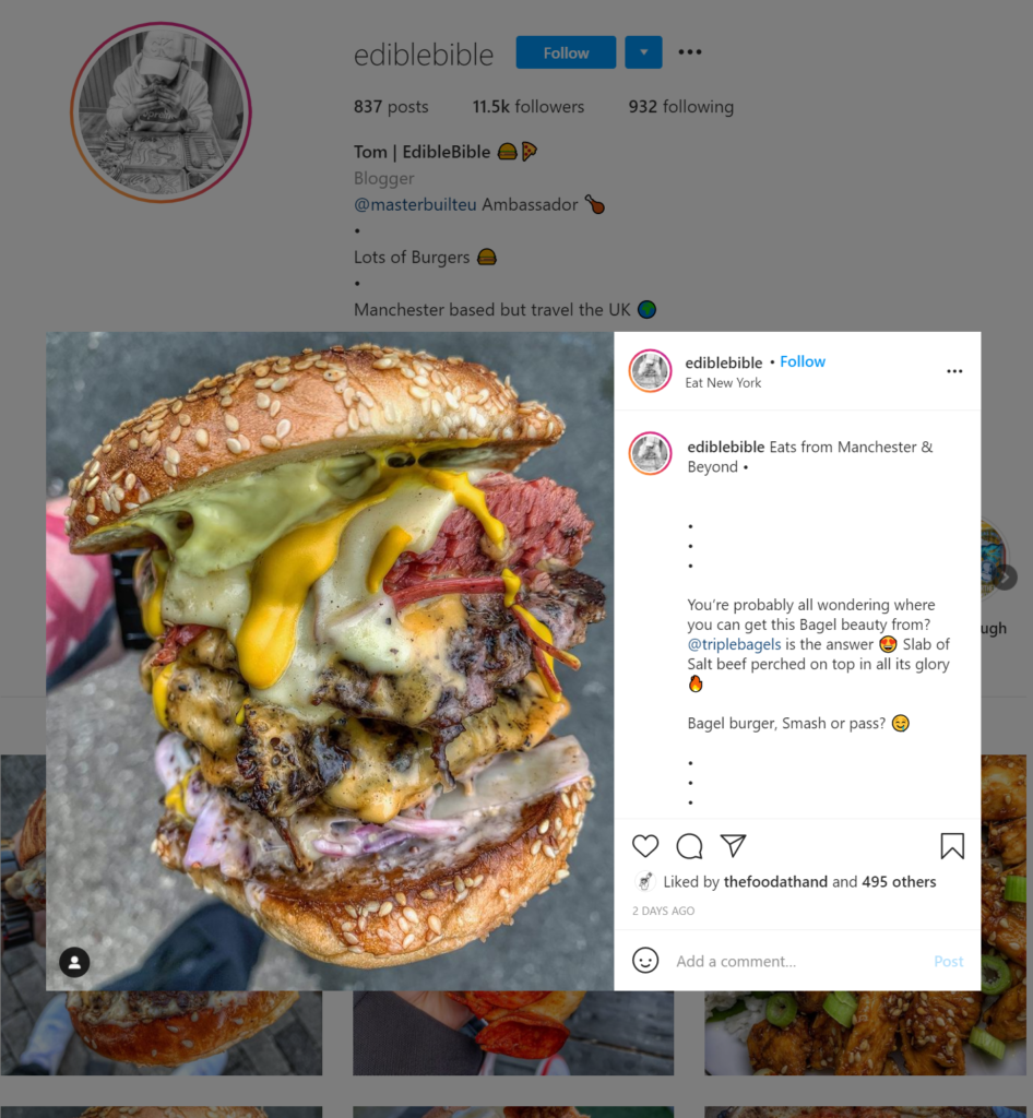 Screenshot of a foodie influencer's photograph of a burger shared on Instagram.