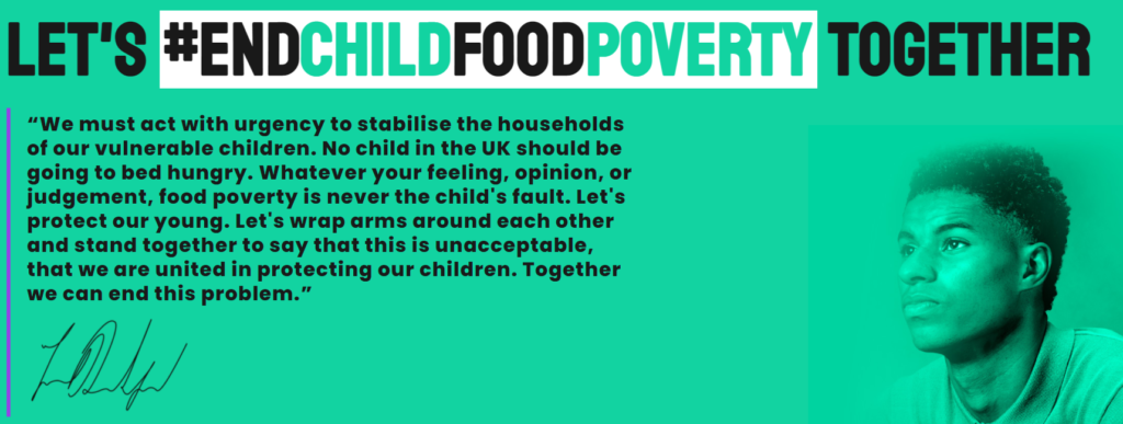 Screenshot from End Child Food Poverty, which is a campaign championed by Marcus Rashford.