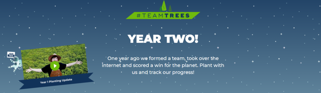 Screenshot of Team Trees, which is an environmental charity organised by MrBeast.