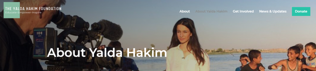 Screenshot of The Yalda Hakim Foundation, which provides scholarships to female students in Afghanistan.