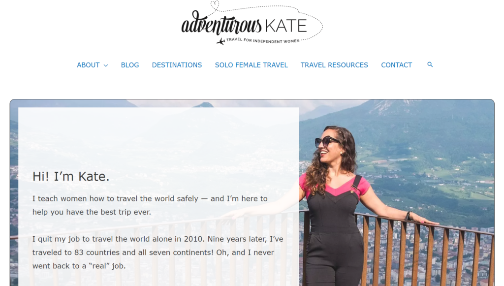 Screenshot of Adventurous Kate's homepage which outlines the niche and purpose of the travel blog.