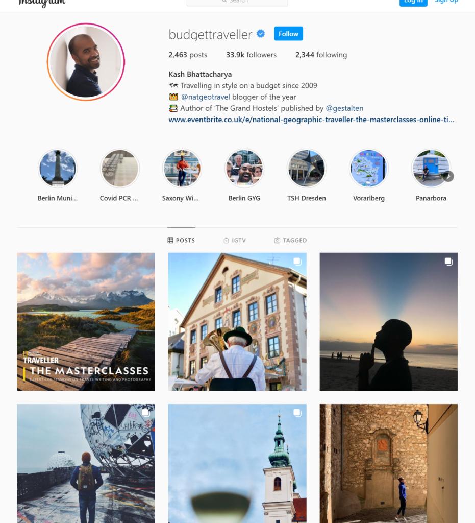Screenshot of travel blogger Budget Traveller's Instagram page.